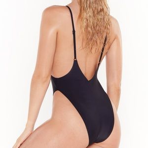 Nasty Gal Swim - NEW Nasty Gal • Black Alina High-Leg Swimsuit.